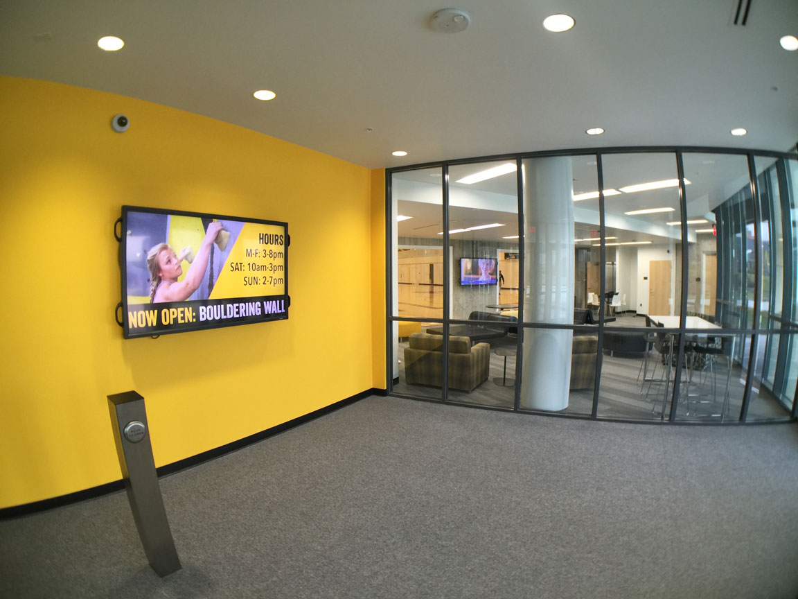 Lobby and reception room showing digital signage