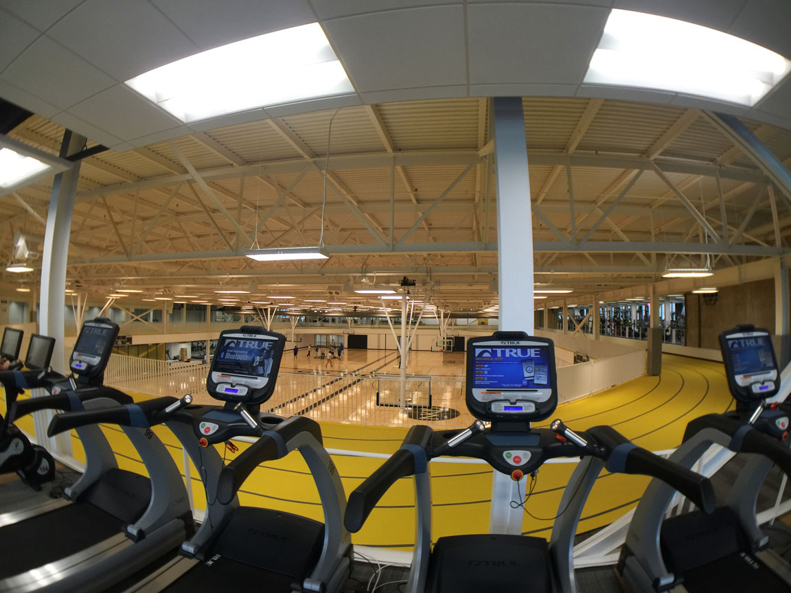 Workout room overlooking running track