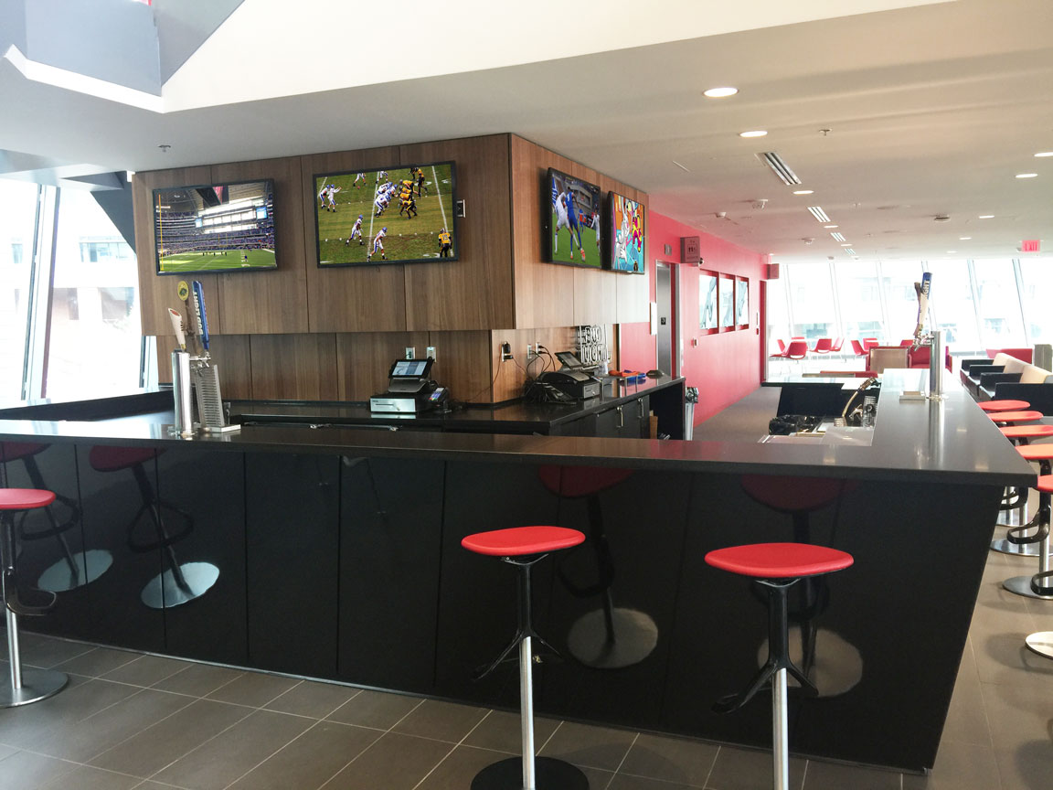 Bar area with multiple video monitors