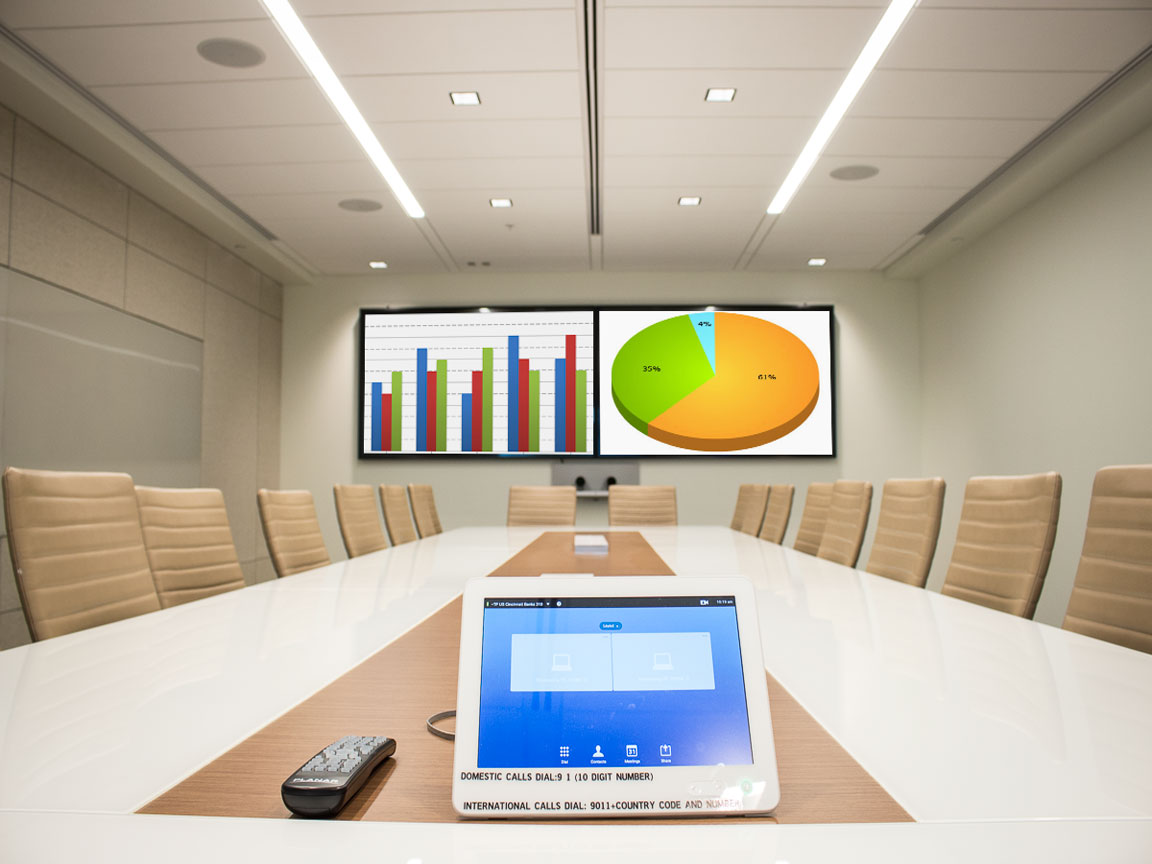 Boardroom with dual flat panel monitors for videoconferencing or side by side display.
