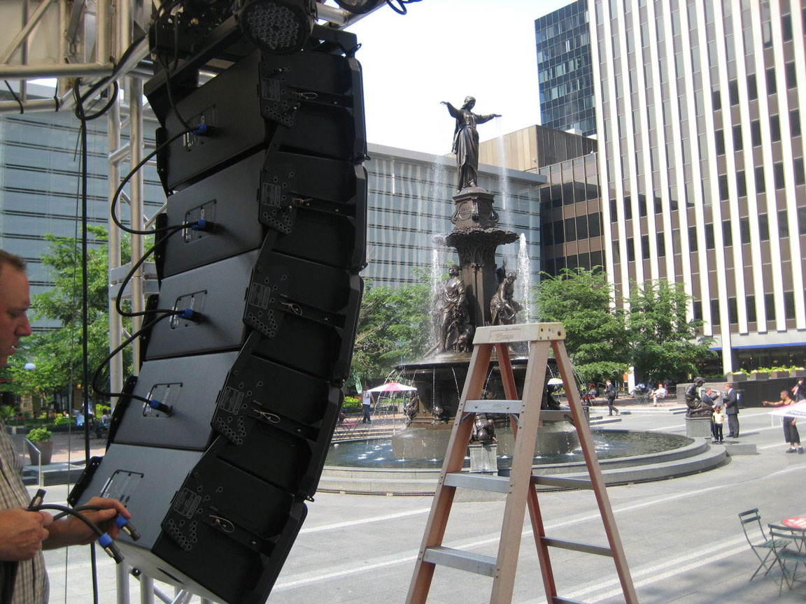 Installing the Nexio line array speakers