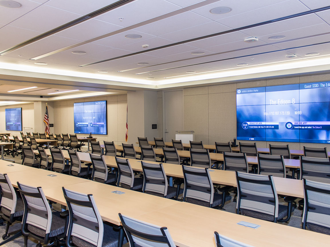 Multi-Divisible Room with one Planar 3x3 Video Wall in each of the three sections