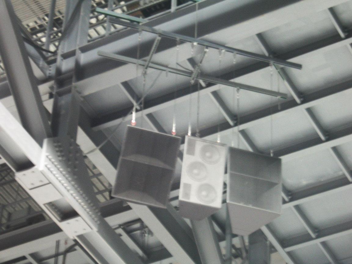 Sound Reinforcement speaker clusters rigged around video score board