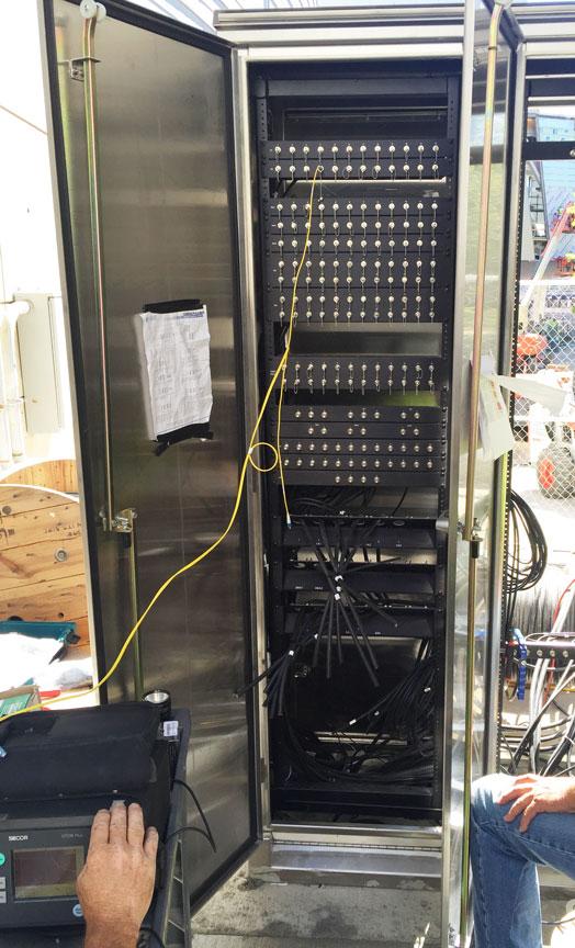 Weatherproof Outdoor Rack for connectivity to satellite broadcast trucks