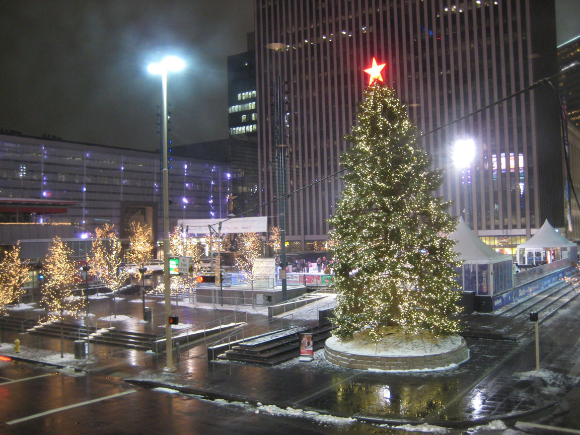 Winter events set up on Fountain Square featuring the ice skating rink with distributed sound and announcments for the skaters