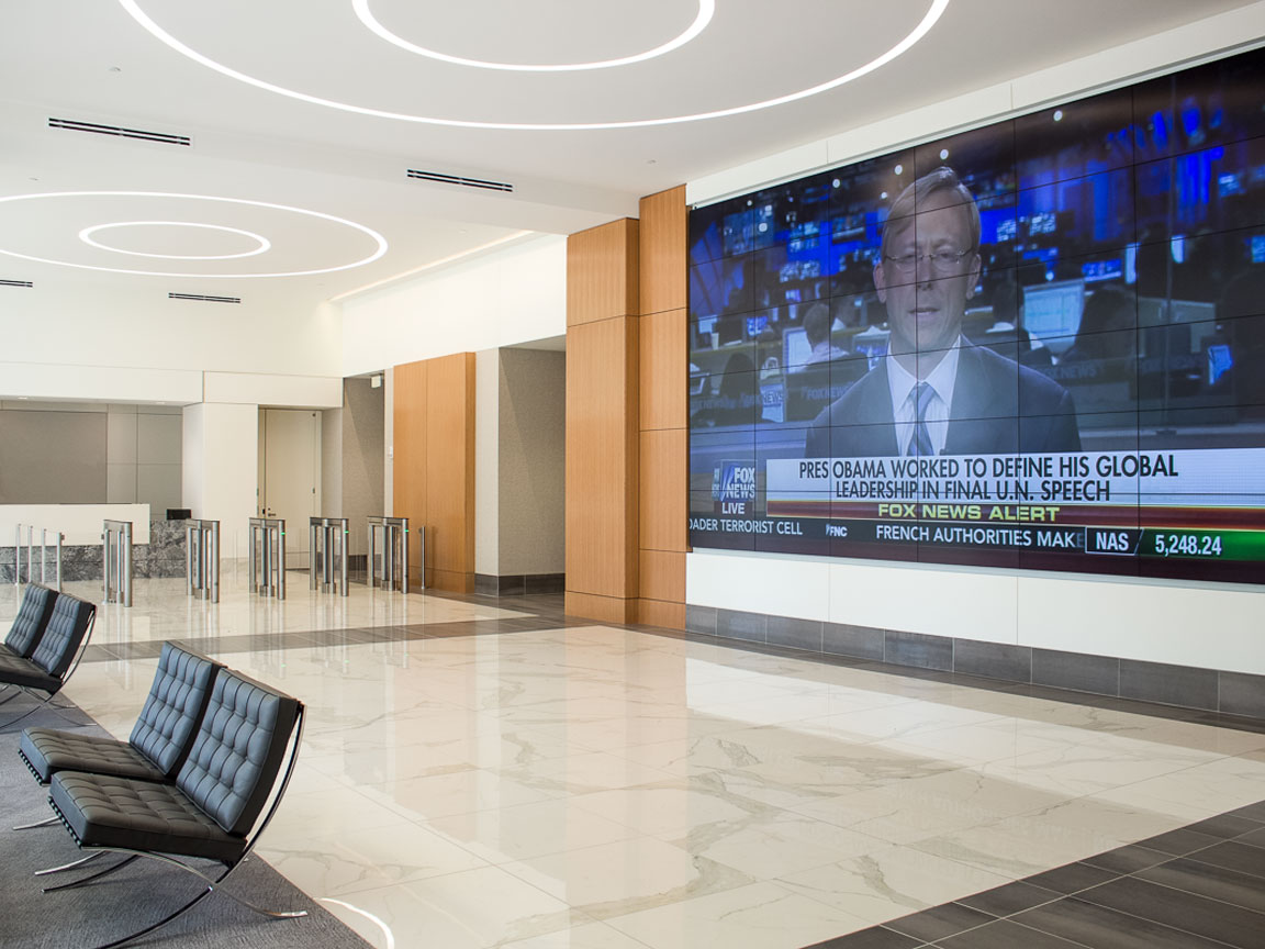Lobby Video Wall featuring a Planar 6x6 panel array.