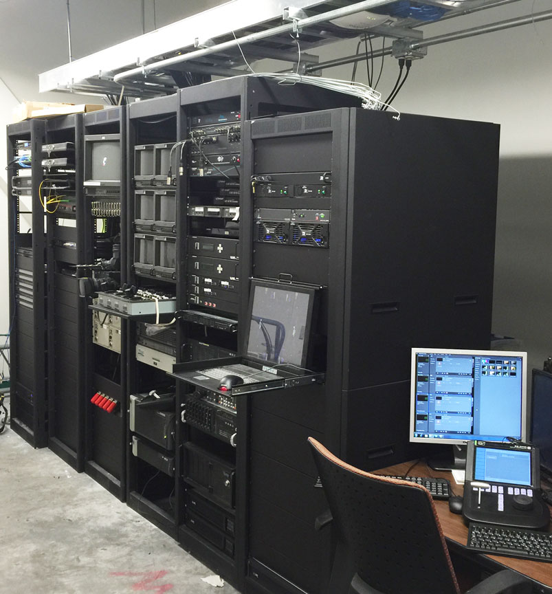 Rack Room with main control for video and audio distribution