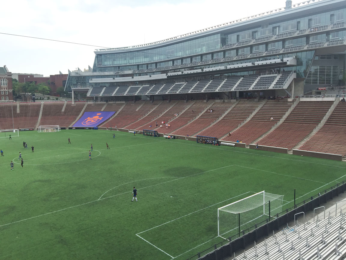 Stadium configured for soccer showing stands, suites, press and broadcast boxes