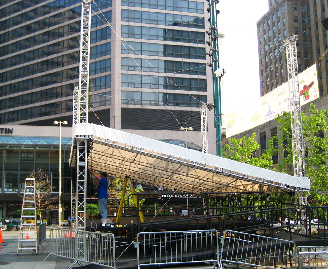 Stage with the canopy in the lowered position for installation of the Speakers and Lighting