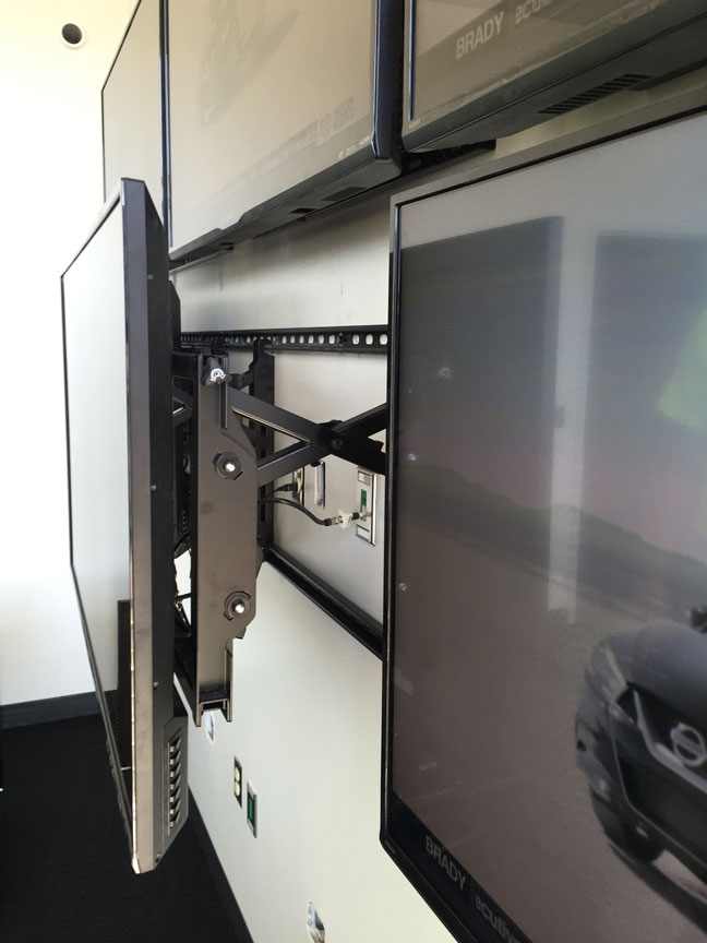 Video Wall showing mount system for easy servicing and replacement